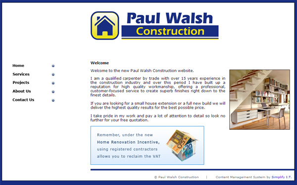 CMS for Paul Walsh Construction