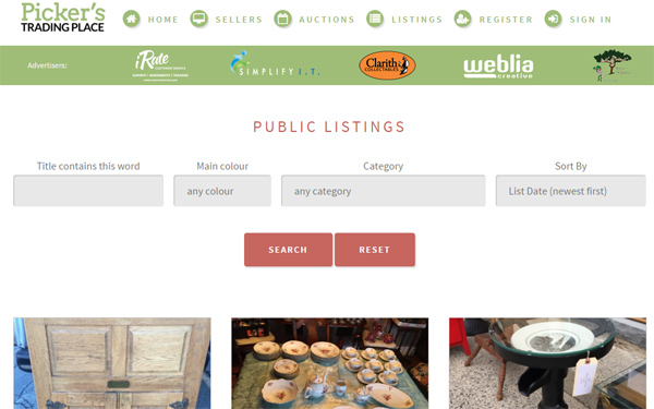 Listing and auction website for Pickers Trading Place